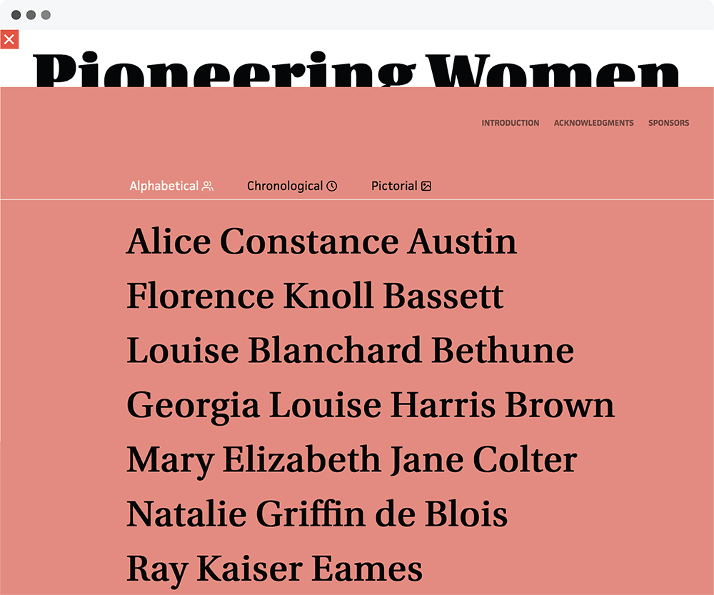 Screenshot of the Pioneering Women of Architecture website
